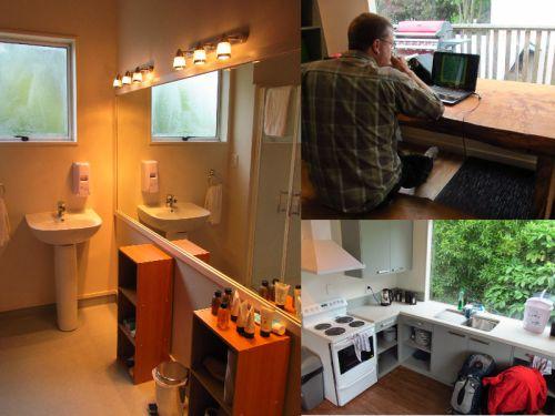 Bathroom, kitchen, dining area.