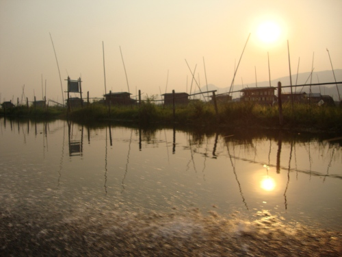 Sunset boat ride, Inle Lake.
