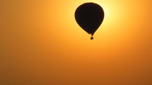 Hot air balloons at sunrise, Bagan.