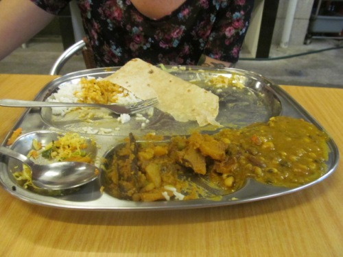 Thali! Rice, chapati, and a bunch of different curries. Best of all, it's refillable!