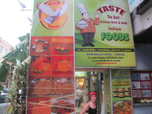 One of the many vegetarian places near Masjid Jamek. And my blurry little face.