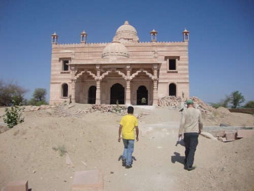 An under-construction temple near the massacre memorial