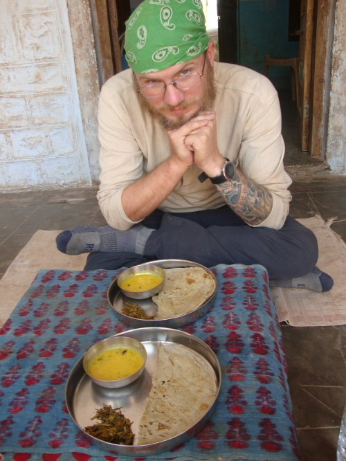 Millet chapati,  beanstalk curry, and some yoghurty sauce