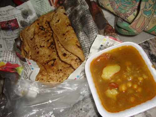 My breakfast in Jaipur: paratha and chana aloo.