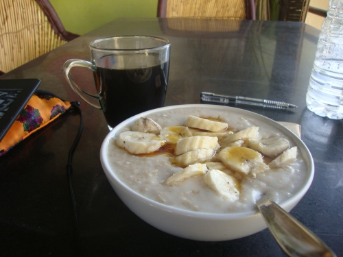 Real coffee and porridge made with coconut milk -- just as amazing as it sounds.