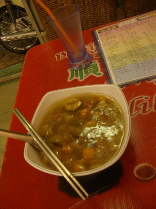 Thick noodle mushroom soup and maybe-tea.
