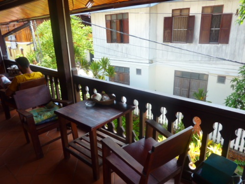 Our balcony, complete with drawing/gaming/breakfasting table