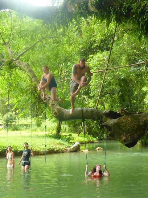 Swimming in Laos