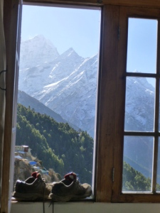 View, with boots, from Everest Lodge in Namche