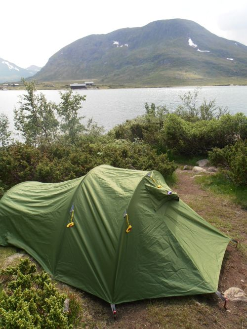 In tents camping