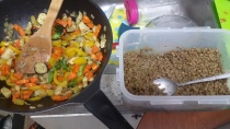 Sauteed Veggies and spiced lentils